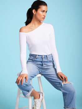 Asymmetrical Neckline Stretch Knit Top