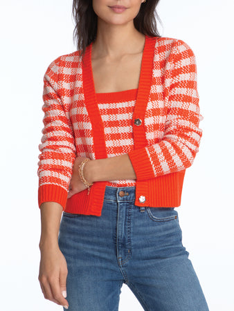 Gingham Cropped Cardigan