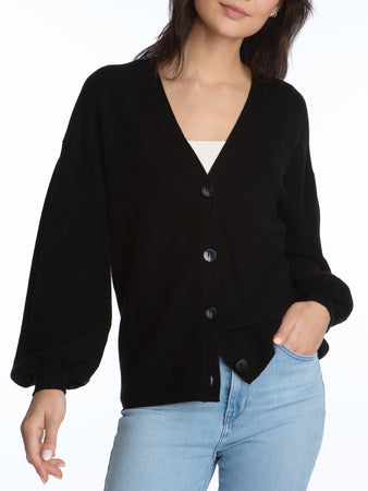 Pleat Sleeve Cardigan