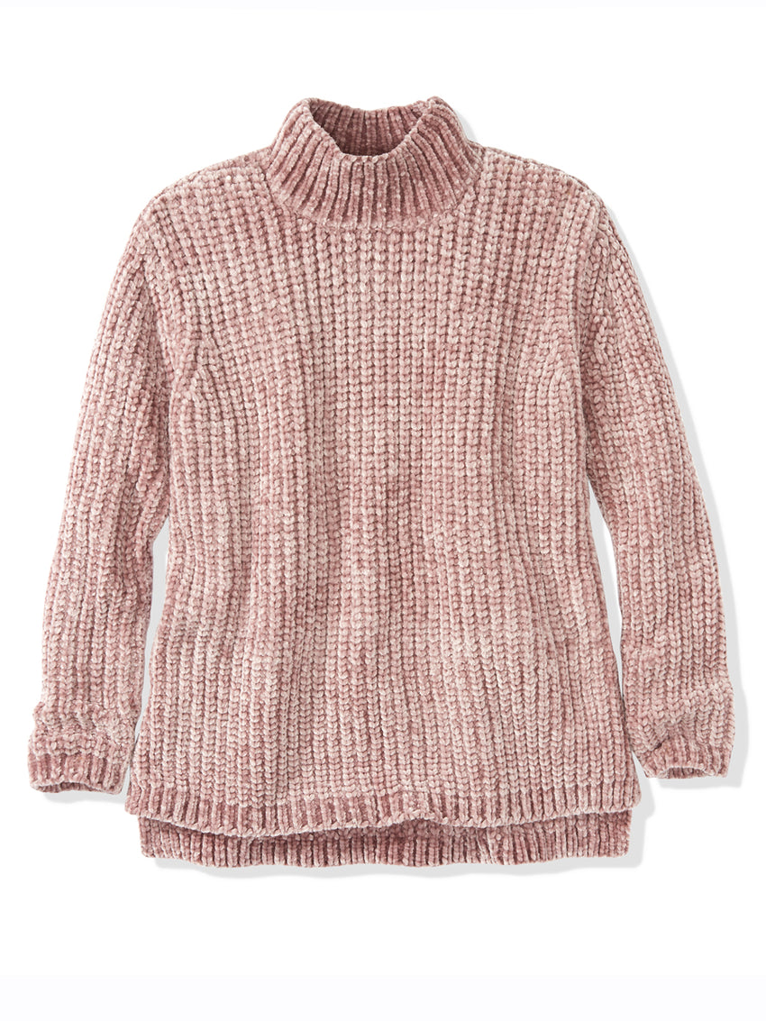 Bouncy Chenille Mock Neck Sweater