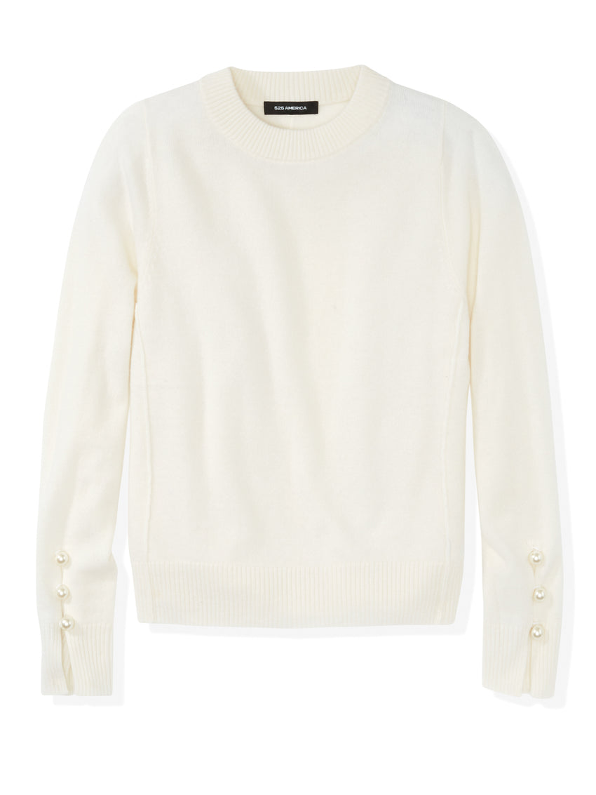 Cashmere Pearl Button Sweater