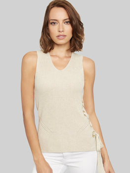 Lace-Up Side Cotton Shaker Tank