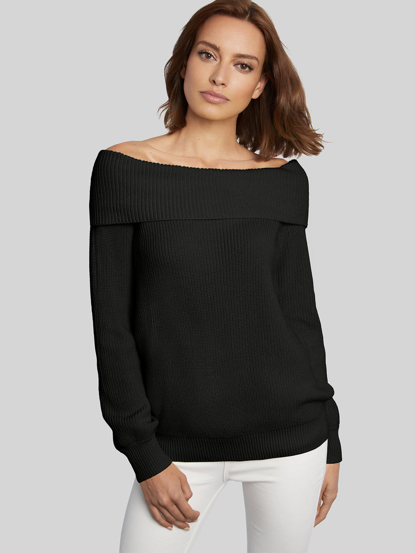 Cotton Shaker Off-The-Shoulder Sweater