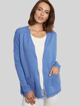 Fringed Seam Cotton Cardigan