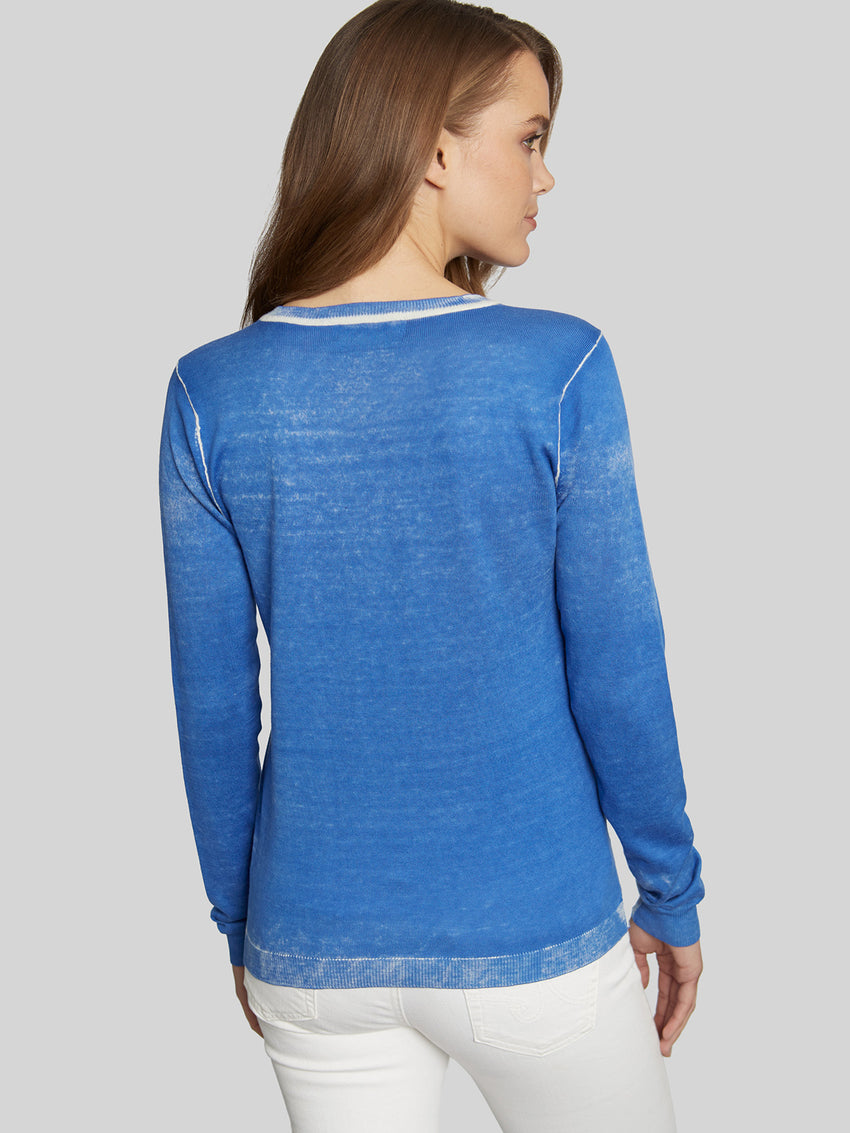 Spray Dye Long Sleeve V-Neck