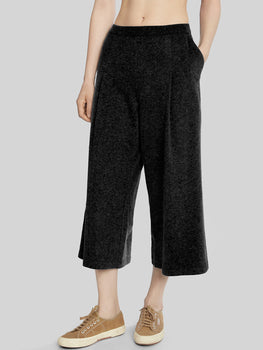 French Terry Cropped Wide Leg Cargo Pant