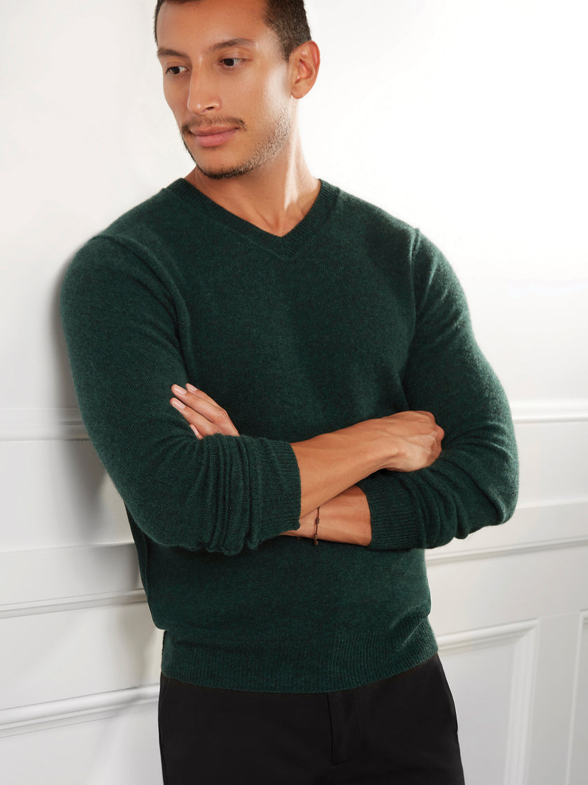 Men's Cashmere Raised Seam V-Neck Sweater