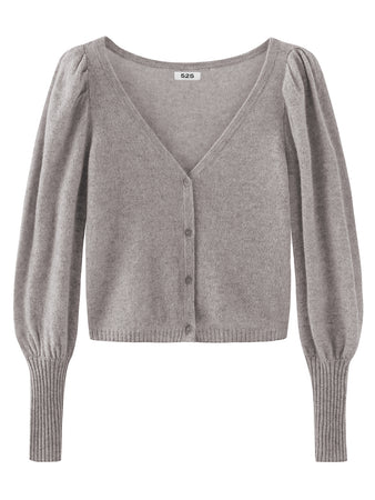 Puff Sleeve V-Neck Cropped Cashmere Cardigan
