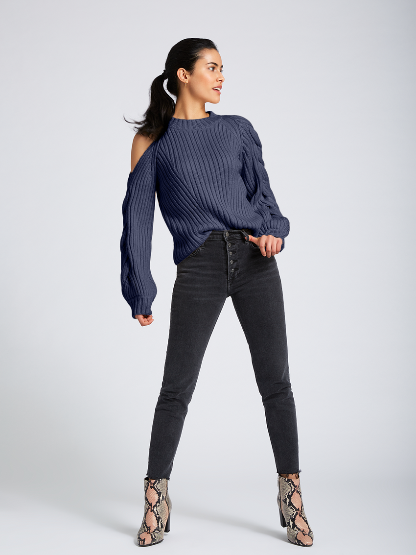 Braided Sleeve Cold Shoulder Sweater