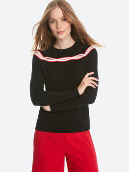 Keyhole Trim Long Sleeve Sweater Top