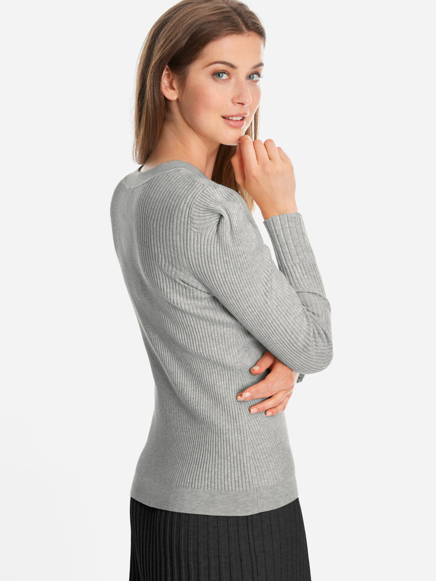 Ribbed Pleat Pique Shoulder Long Sleeve Sweater Top