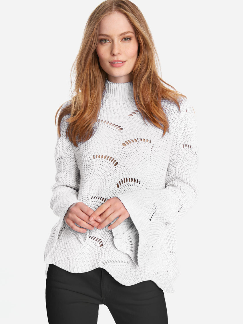 Cotton Wave Stitch Mock Neck Bell Sleeve Sweater