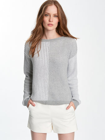 Cotton Shaker Colorblock Rolled Neck Sweater