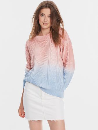 Cotton Shaker Ombre Cable Knit Crewneck Sweater