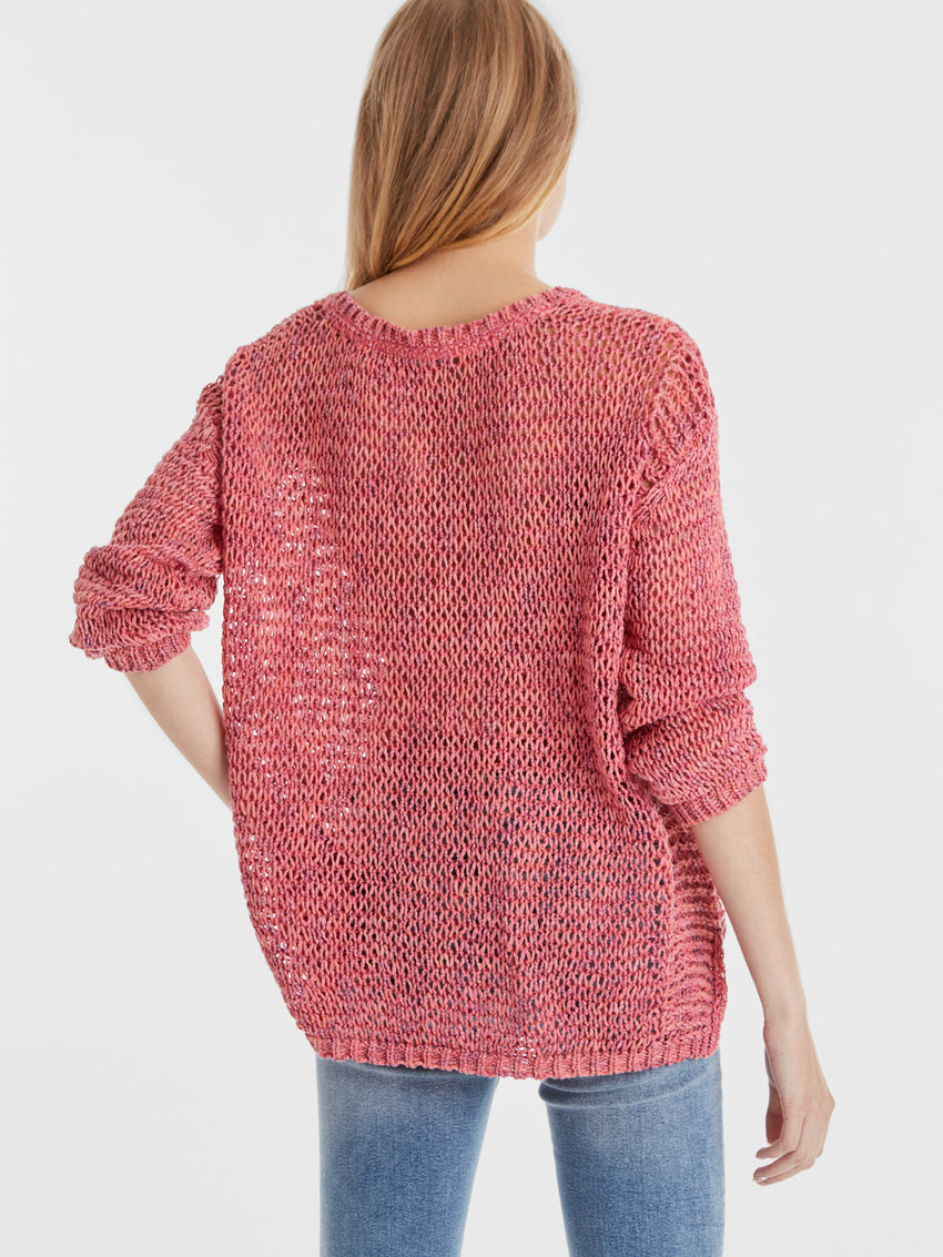 Cotton Blend Mix Stitch Loose Knit V-Neck Sweater