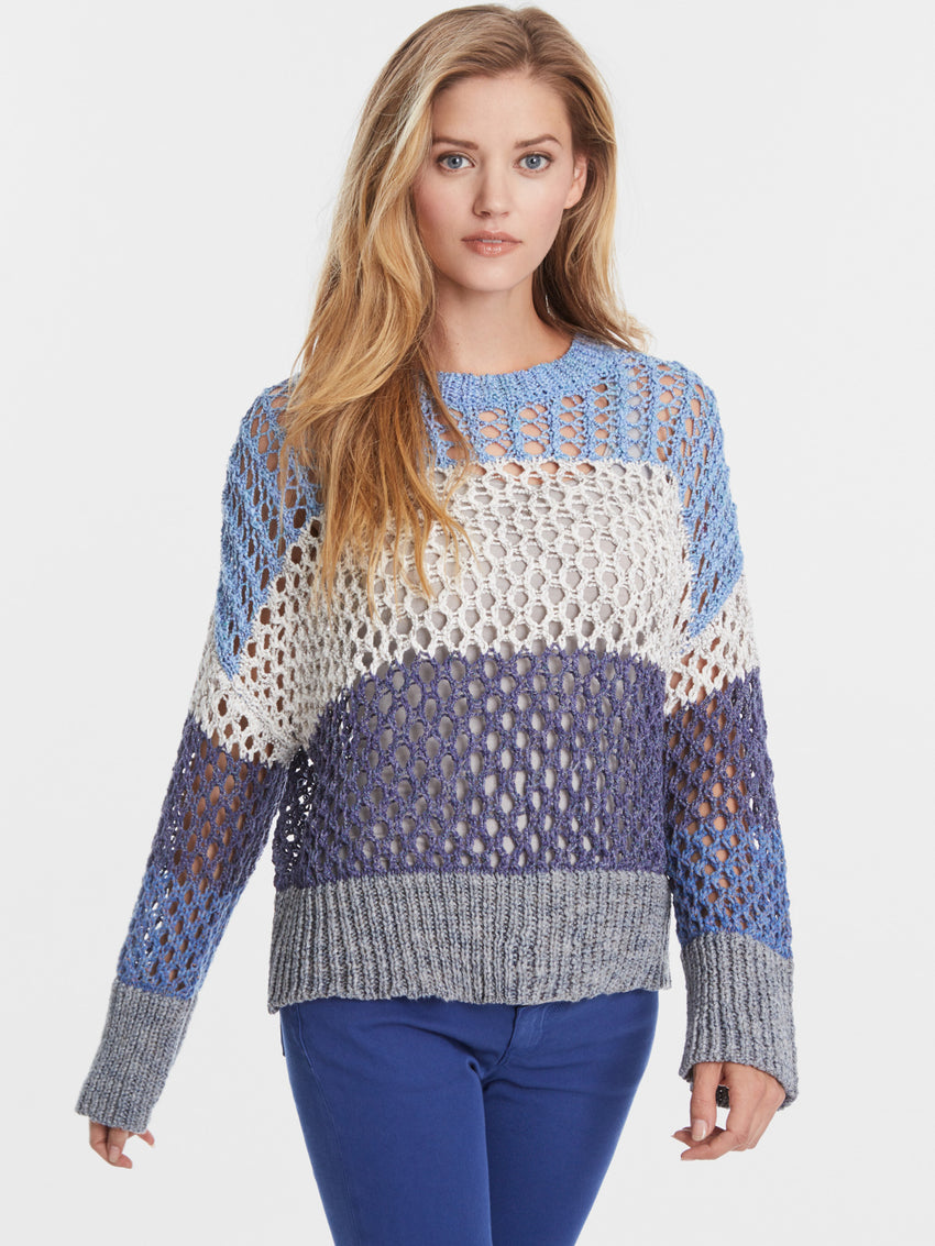 Cotton Blend Mix Stitch Loose Knit Striped Sweater