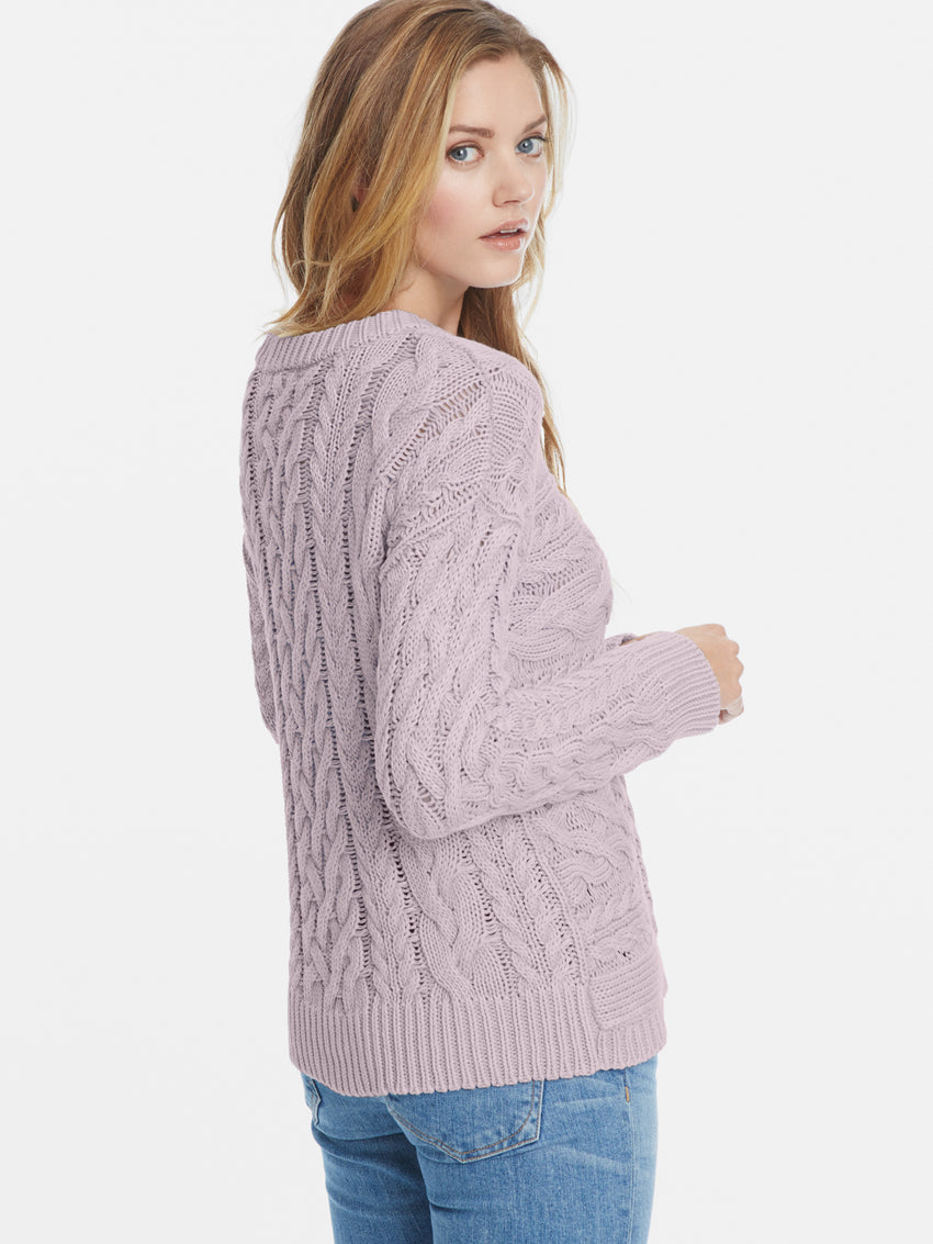 Chunky Cotton Shaker Denim Wash Cable Knit Sweater