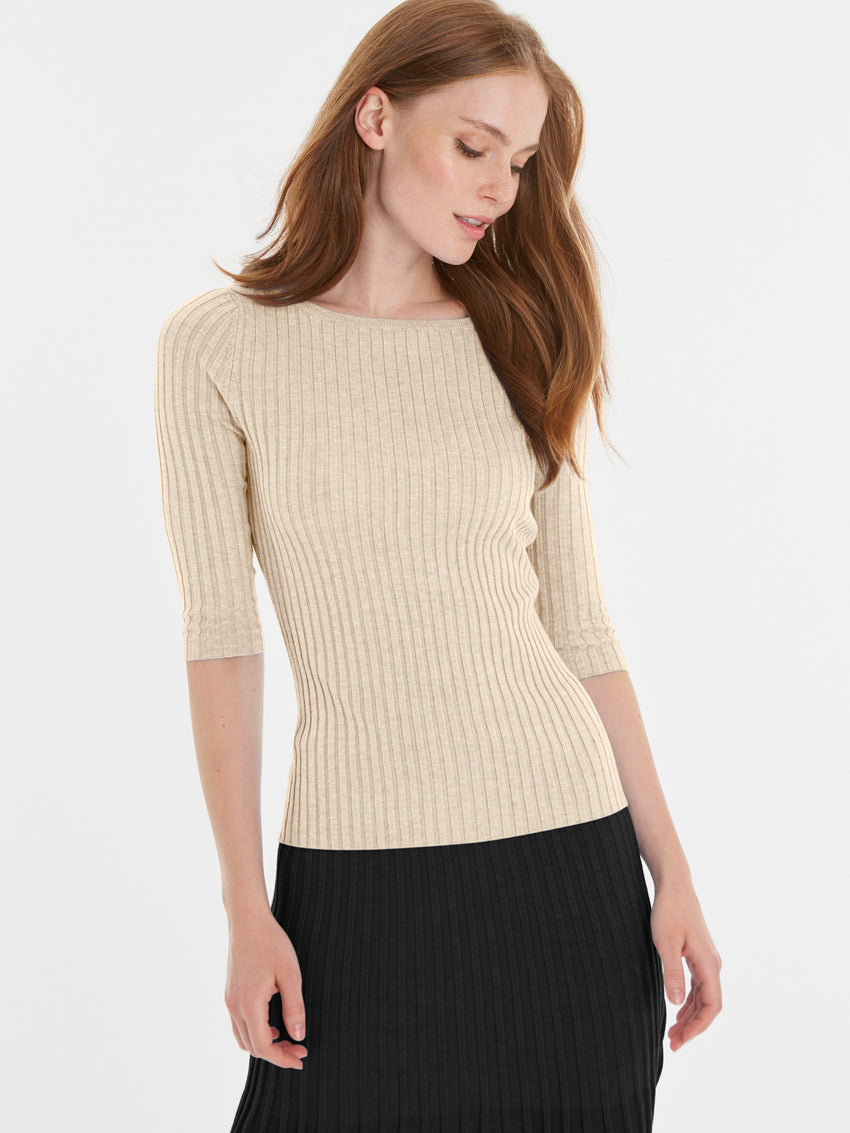 Ribbed Knit Bateau ¾ Sleeve Top