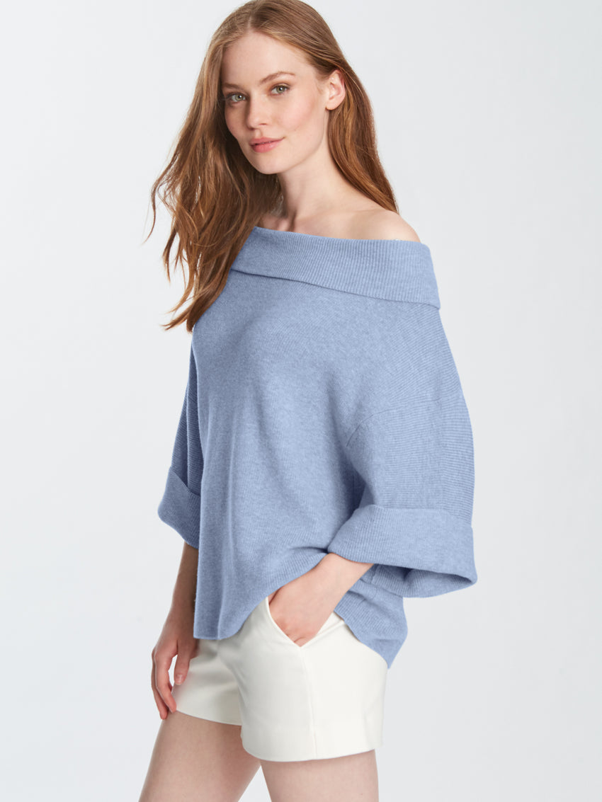 Plaited Cotton Cowl Neck Oversized Sweater Top
