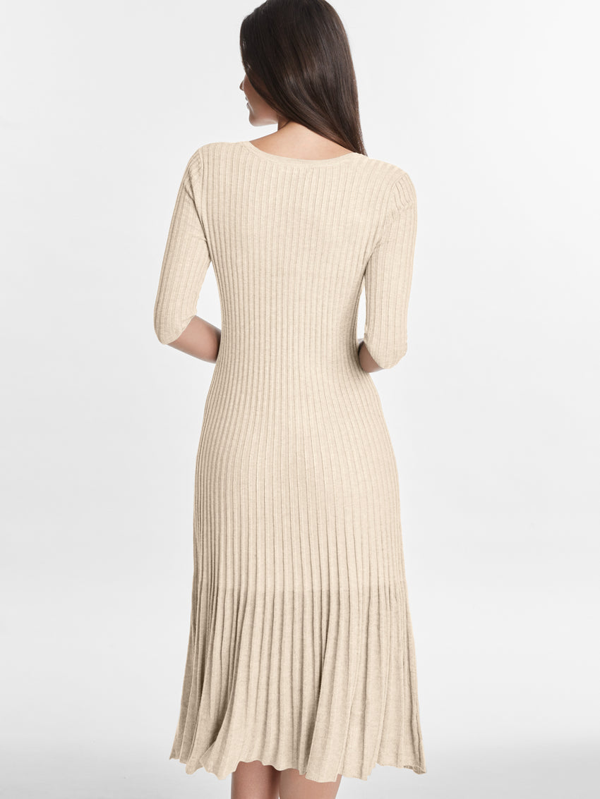 Boatneck Ribbed Fit and Flare Dress