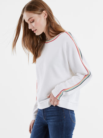French Terry Rainbow Stripe Snap Dolman Sleeve Top