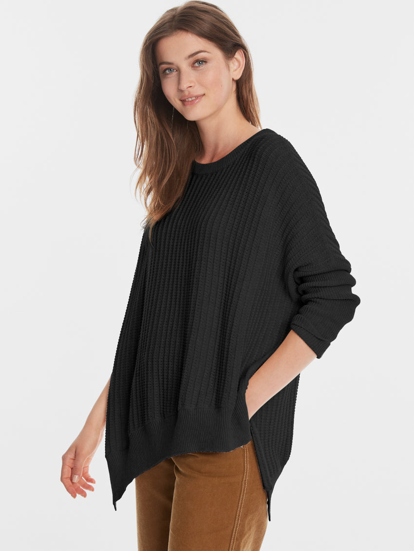 Cotton Shaker Asymmetrical Hi-Low Hem Sweater