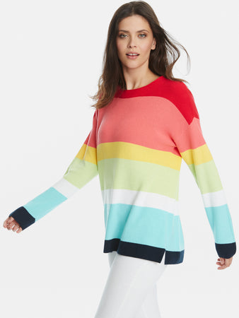 Cotton Shaker Rainbow Stripe Crewneck Sweater