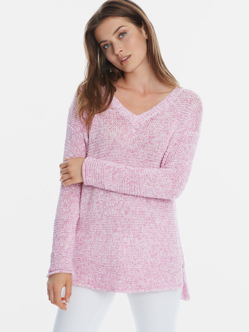 Cotton Mix Stitch V-Neck Hi-Low Hem Sweater