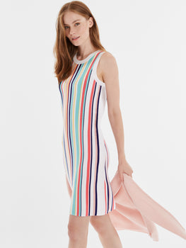 Rainbow Stripe Ribbed Tank Dress