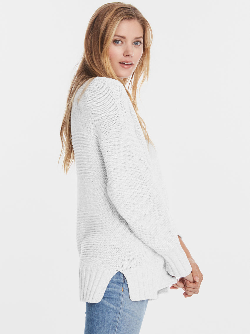 Cotton Mix Stitch Open Front Cardigan