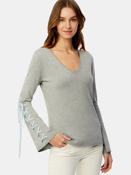 Lace Up Bell Sleeve V-Neck Sweater