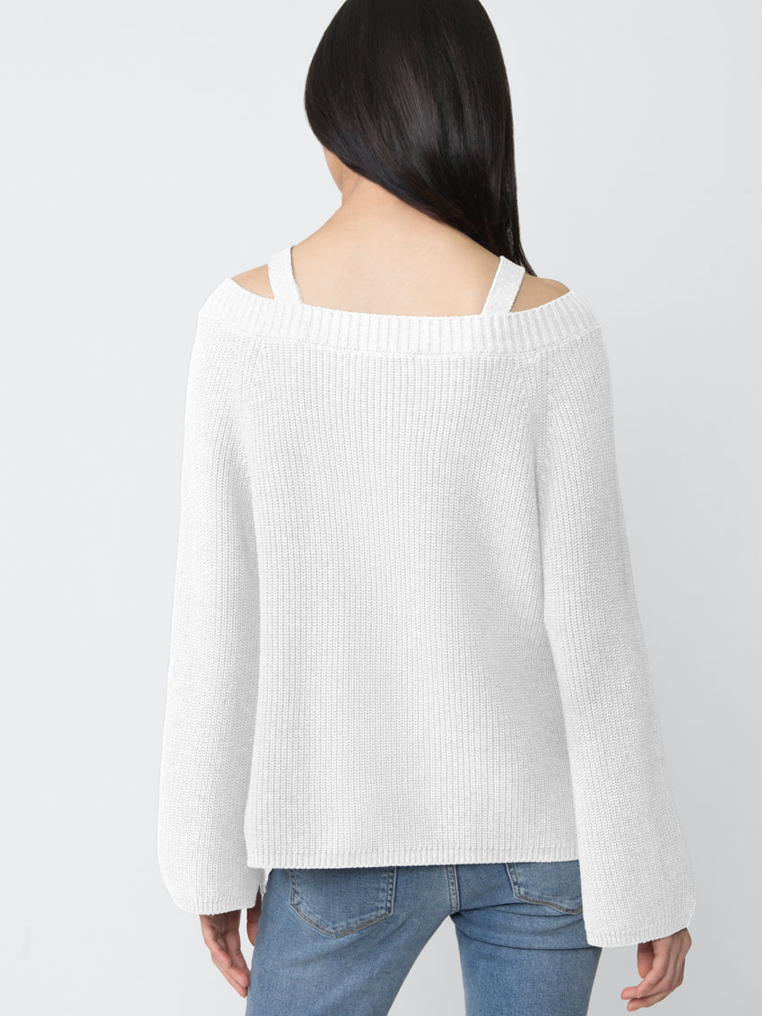 Cotton Shaker Off-The-Shoulder Sweater with Removable Straps