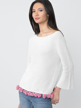 Cotton Shaker Pom Pom Sweater