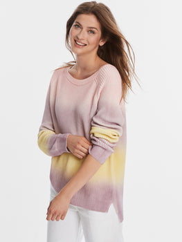 Cotton Shaker Pastel Ombre Hi-Low Sweater