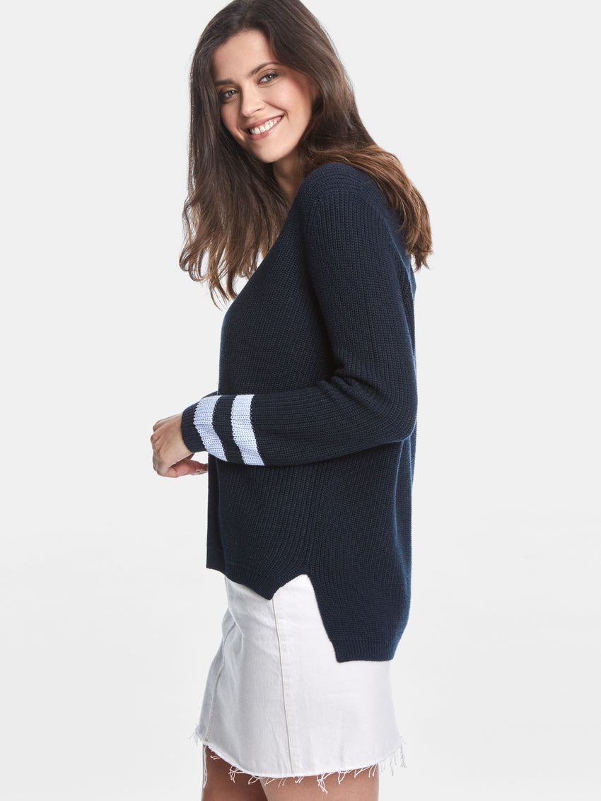 Cotton Shaker V-neck Varsity Sweater
