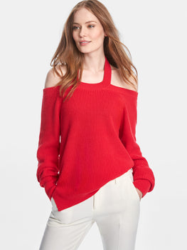 Cotton Shaker Halter Off The Shoulder Sweater