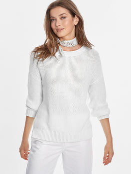 Cotton Shaker Seed Stitch Rolled Neck Sweater