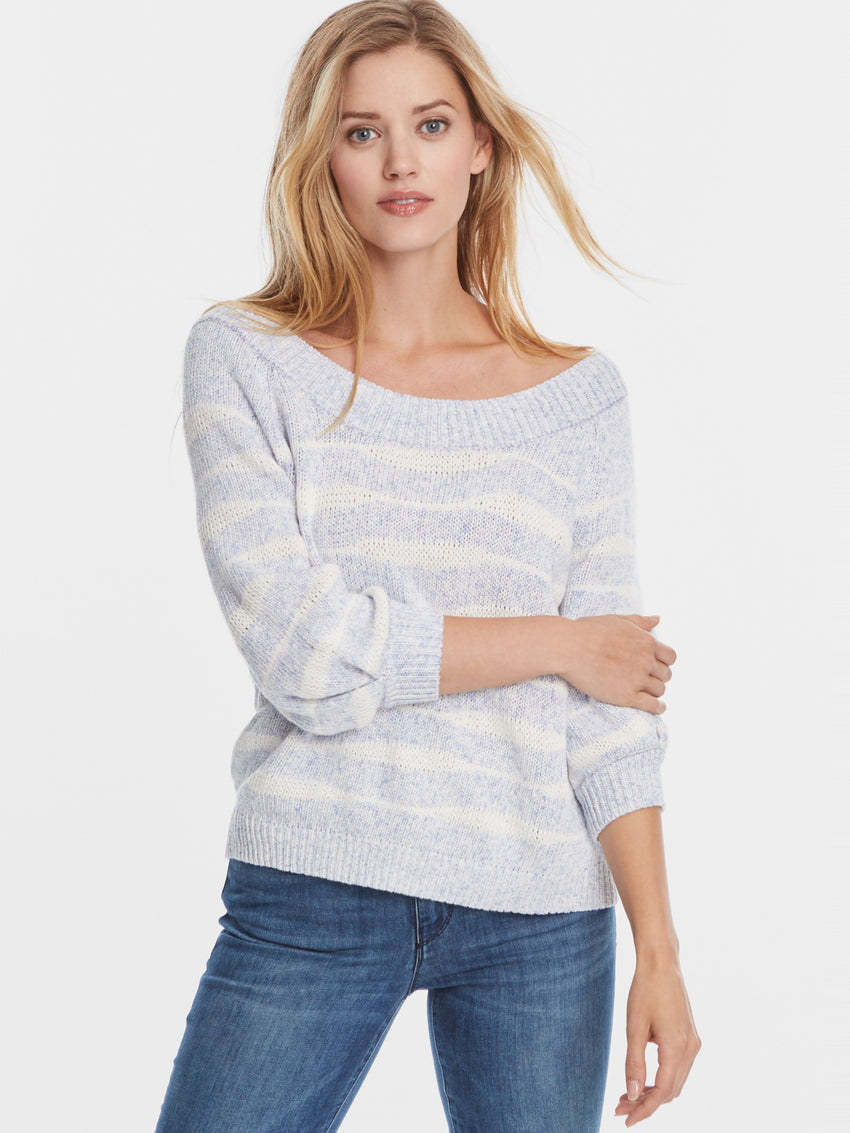 Cotton Wave Stripe Off The Shoulder Inverted Sleeve Sweater