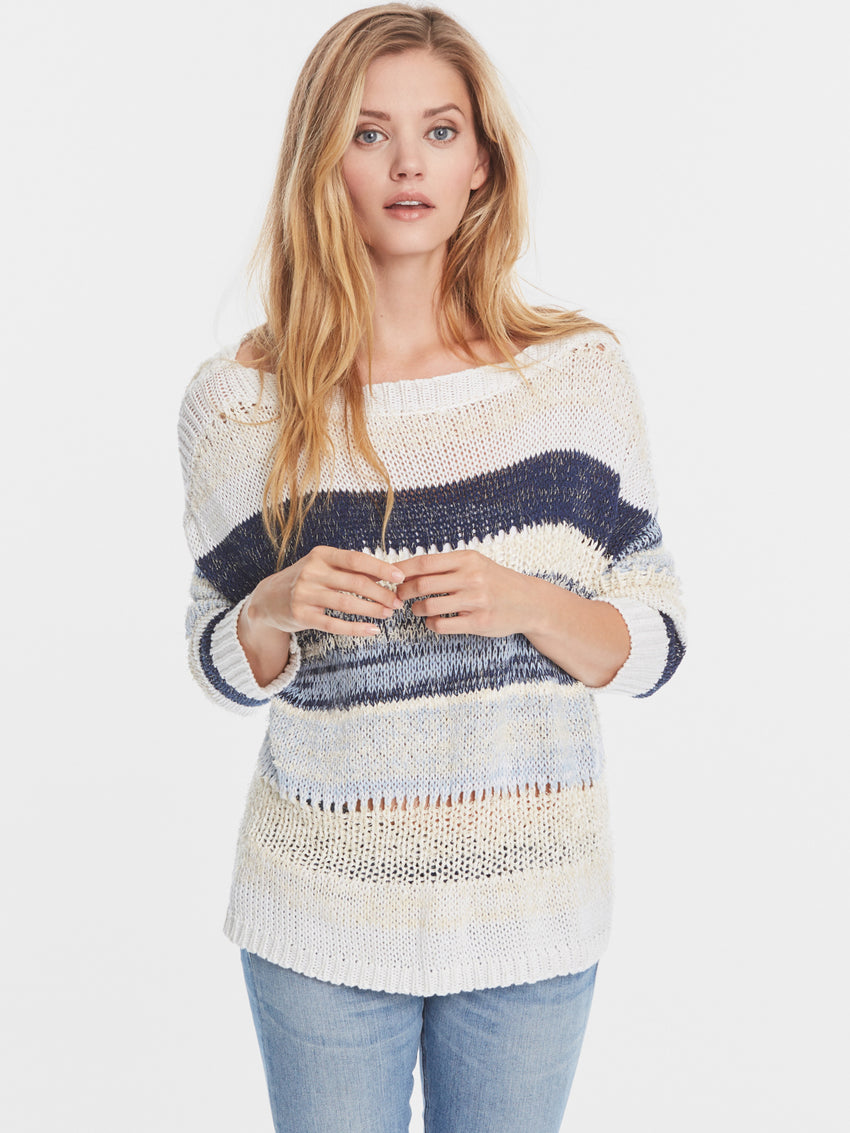 Bateau Neck Eyelash Broad Stripe Sweater