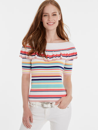 Rainbow Stripe Ribbed Off The Shoulder Top