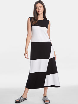 Asymmetrical Striped Sleeveless Dress