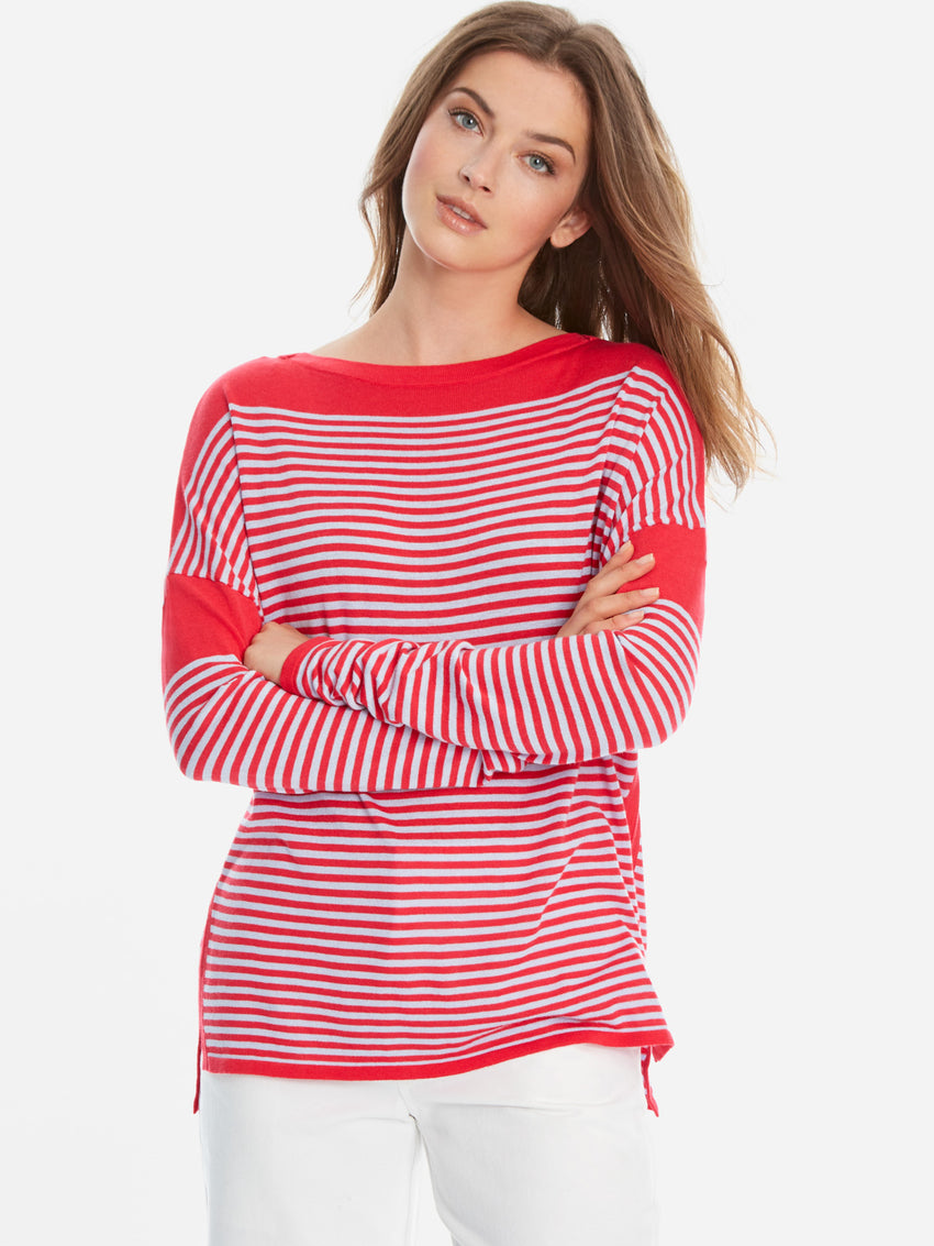 Cotton Blend Stripe Drop Shoulder Sweater Top
