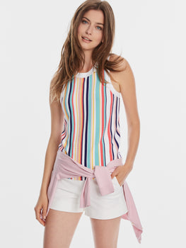 Rainbow Stripe Ribbed Racerback Tank