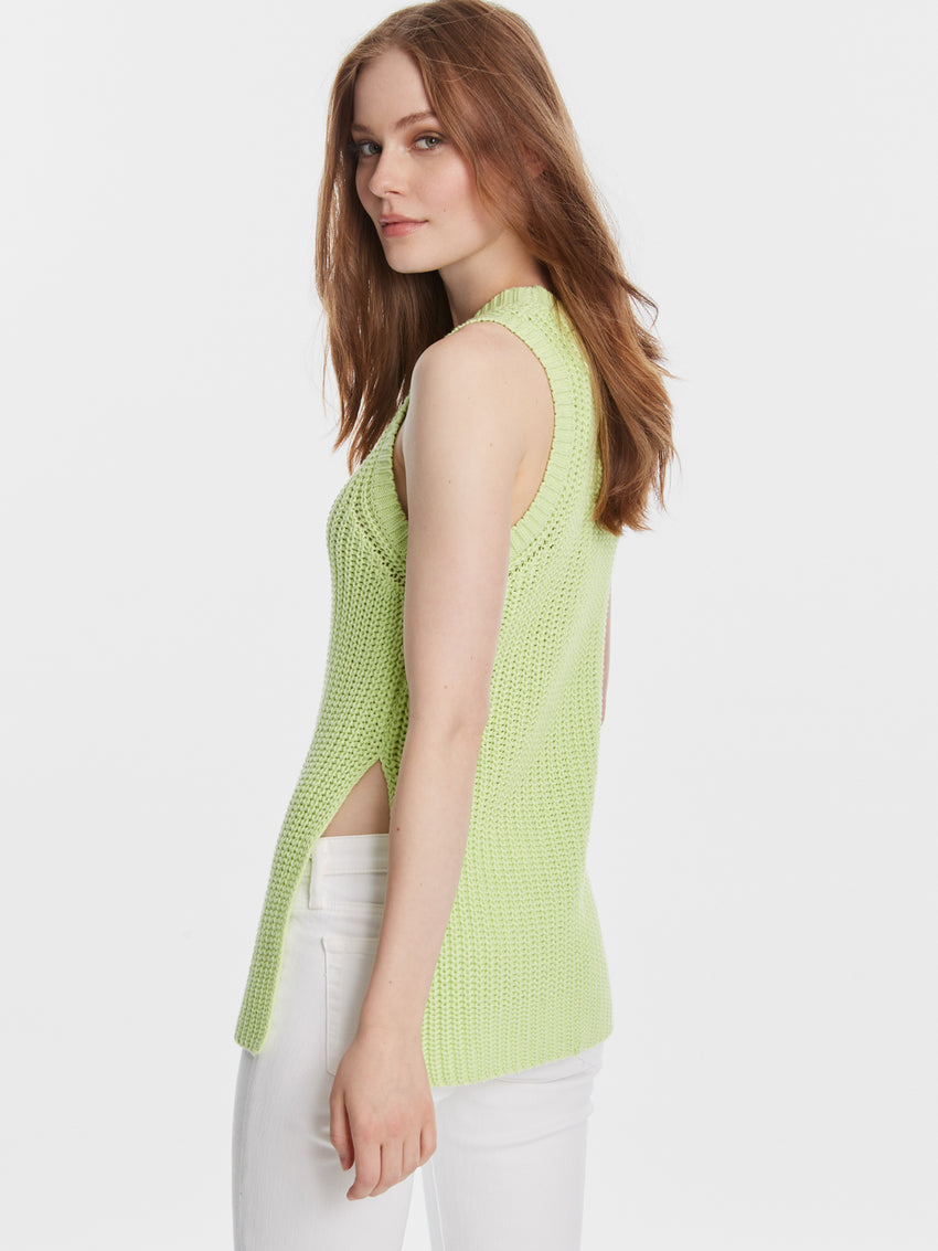 Chunky Cotton Shaker High Side Slit Sweater Tank