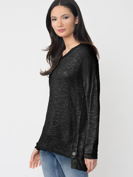 Hi-Low Linen Blend Button Hem V-Neck Sweater