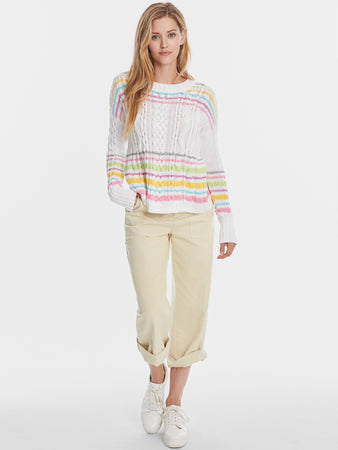 Cotton Shaker Pastel Stripe Cable Crewneck Sweater