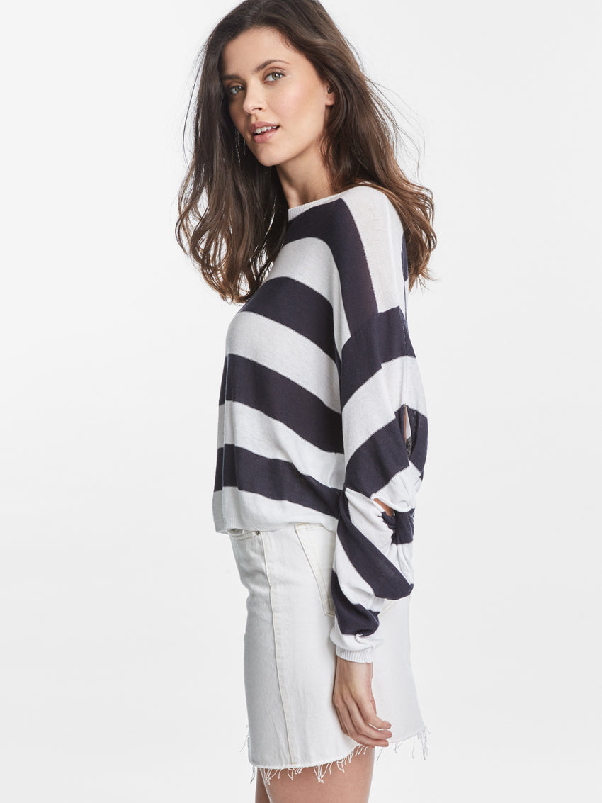 Cotton Blend Rugby Stripe Twisted Sleeve Sweater Top