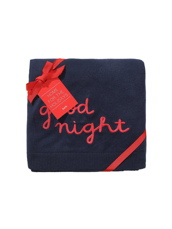 Good Night Embroidered Travel Blanket