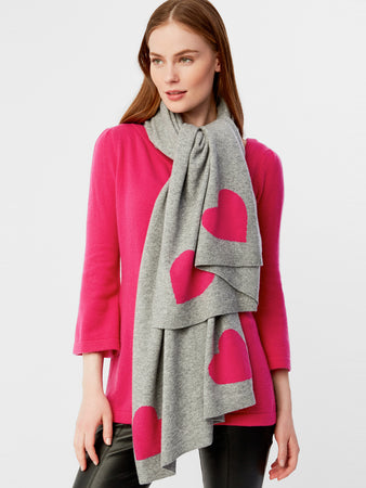 Cashmere Heart Intarsia Wrap Scarf