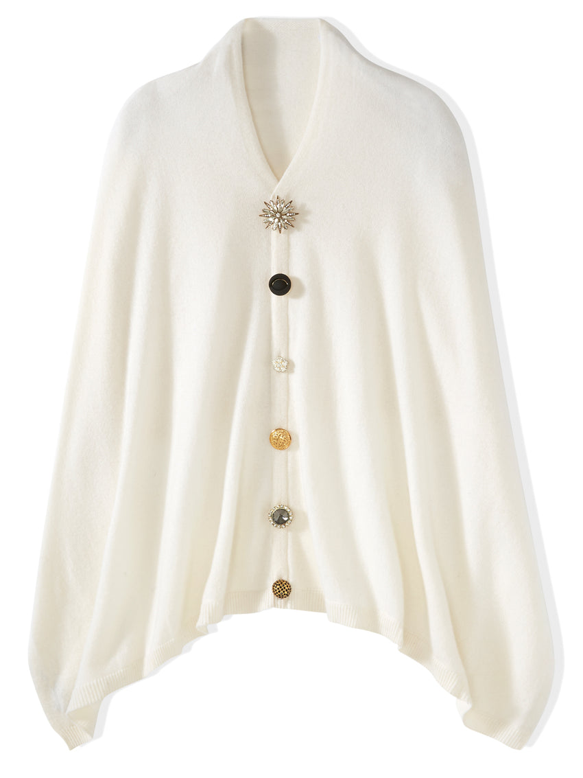 Cashmere Button Brooch Knit Poncho